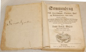 Gammal bok från Södra Säms kyrka, tryckt 1774