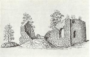 Södra Säms kyrkoruin. Teckning 1868 av Djurklou