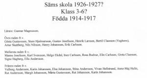 Säms skola 1926-1927, klass 3-6..., födda 1914-1917, text