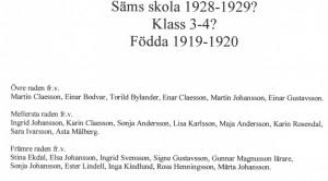 Säms skola 1928-1929, klass 3-4..., födda 1919-1920, text