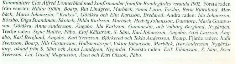 Konfirmation, Bondegärde Gällstad 1902, Judith Andersson, text