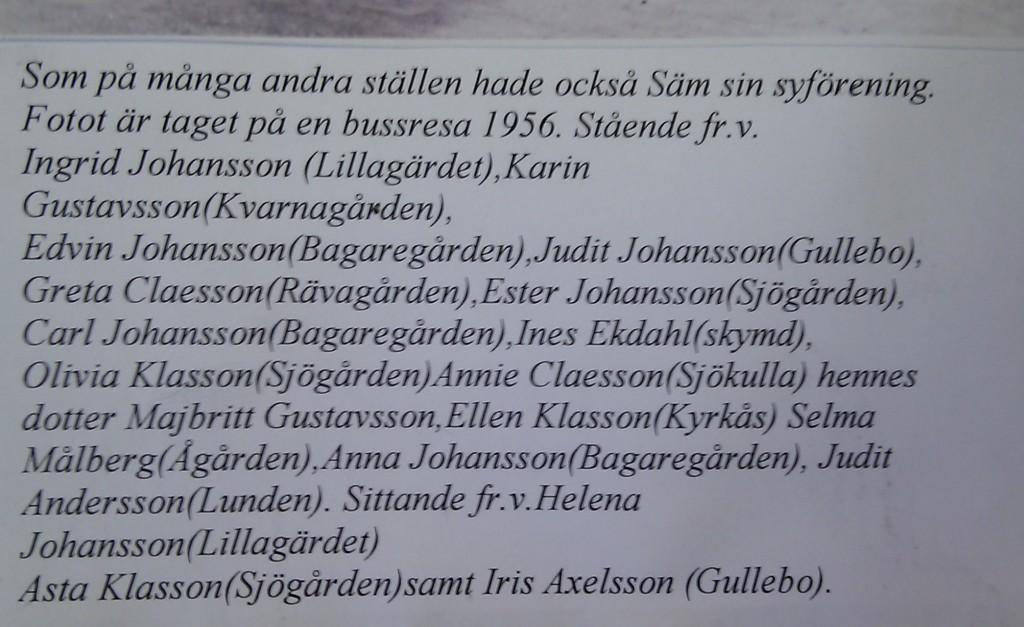 Syföreningen i Säm, 1956, text