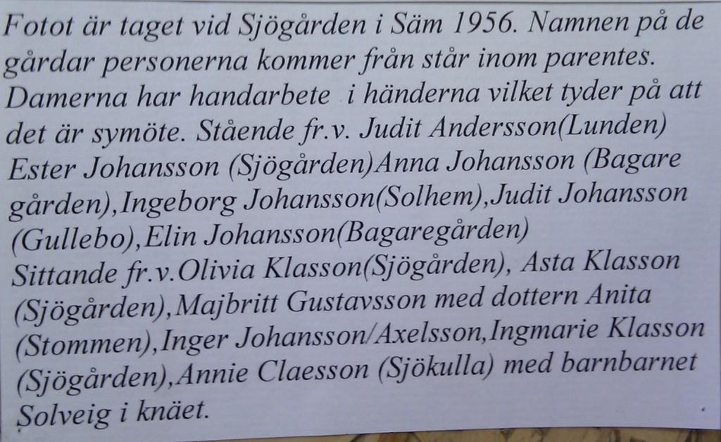 Symöte i Sjögården, 1956, text