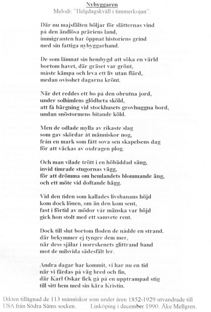 Åke Mellgren, dikt